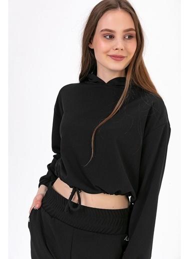 Tiffany&Tomato Kapüşonlu Beli Lastikli Crop Sweatshirt-Vizon Siyah
